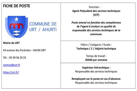 URT – Agent des Services Techniques 01/03/2021
